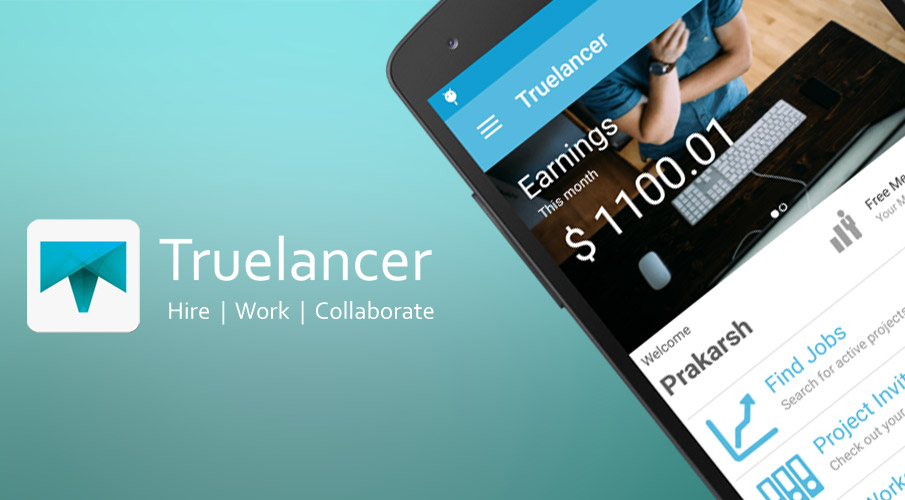 Truelancer Mobile app in use on Android devices